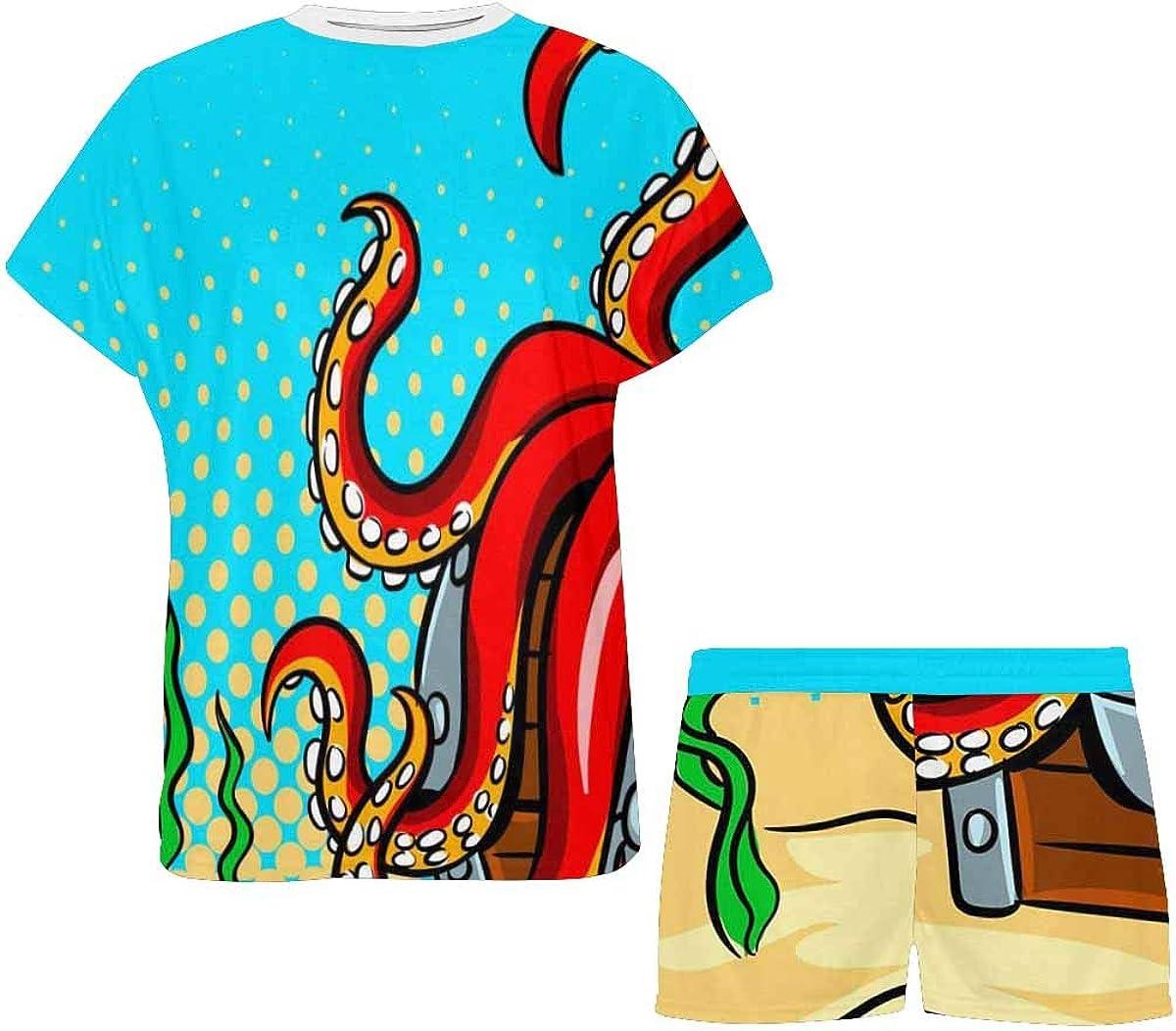 INTERESTPRINT Octopus Guards Women's Pajamas Short Sets Round Neck Short Sleeve Sleepwear