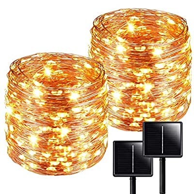 Solar String Lights?2-Pack Solar Lights Outdoor?Each 72ft 200LED Solar Fairy Lights with 8 Lighting Modes, IP65 Waterproof Decoration Copper Wire Lights for Garden Patio Party (Warm White)