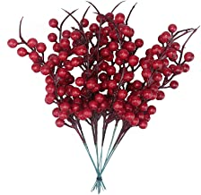 12 PCS Artificial Red Berry Branches,Home Pine Cone Red Berry Bouquet Flower Branch Christmas Decoration Wedding Party Decor Festive Supplies 9.9