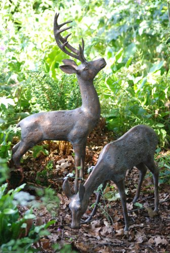Garden Ornaments - Large Deer Stag Bronze Sculptures