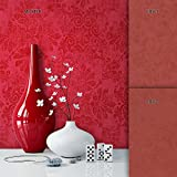 NEWROOM Tapete Metallic Ornament Barock Vliestapete Rot Vlies moderne Design
