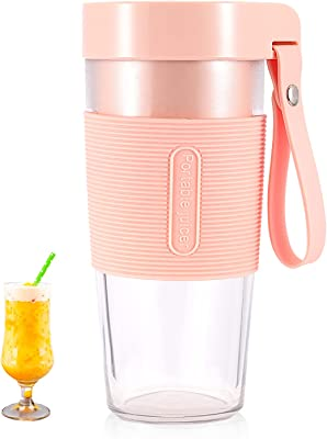 Portable Blender, Personal Size Blender, Smoothies and Shakes Blender Cup, 12OZ Mini Blender, Usb Rechargeable, BPA Free Blender Jucie Cup on the go with Ice cube tray (Pink)