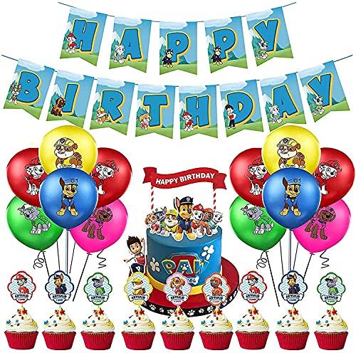FGen Globos Patrulla Canina, Patrulla Canina Cumpleaños Banner de Happy Birthday Decoración, Globos de Látex Paw Dog Patrol, Adorno de Torta, Niños Decoración de Fiesta (38 Piezas)