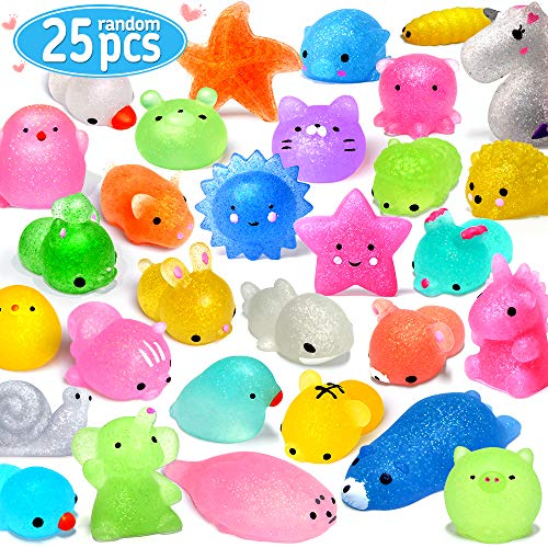 FLY2SKY 25PCS Mochi Squishy Toys 2nd Generation Glitter Party Favors for Kids Mini Squishy Animal Squishies Stress Relief Toys Kawaii Cat Unicorn Squishys Birthday Gifts for Boys & Girls, Random