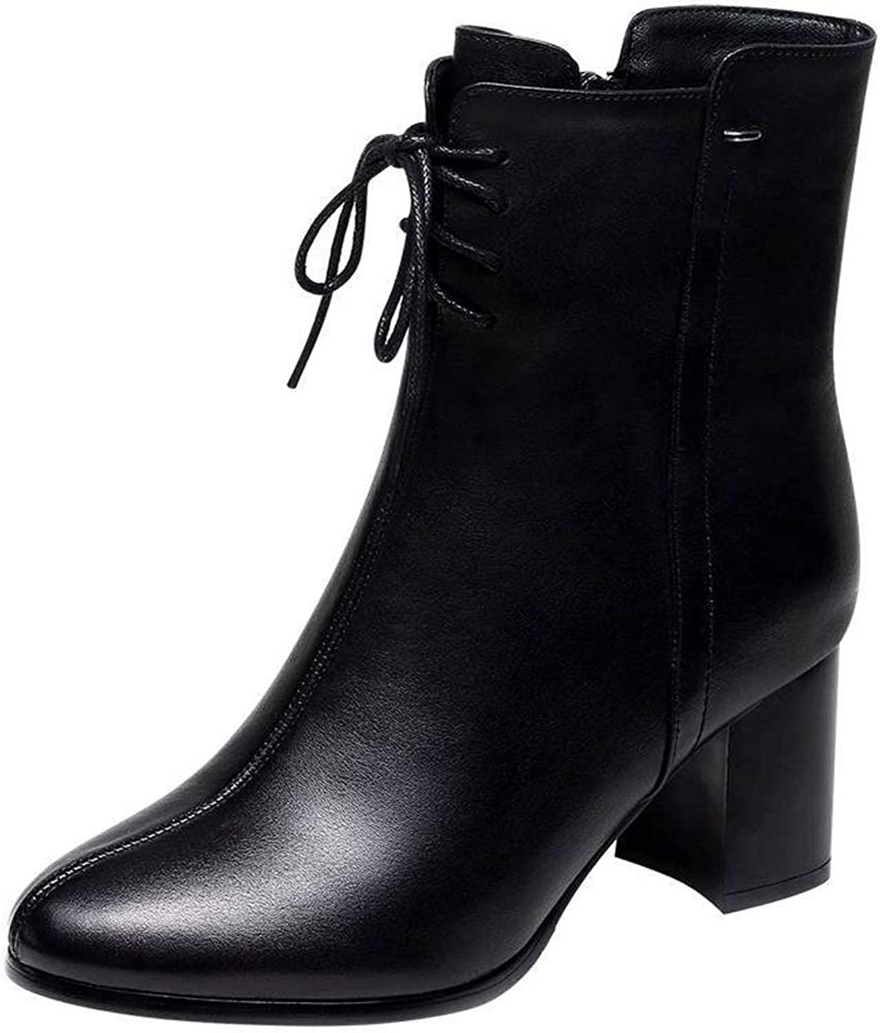 Hanxue Women's Leather Ankle Boots Chunky Heels Pointy Toe Zipper Daily Wear Booties