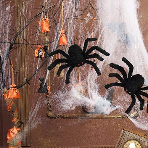 FEPITO 2 Grandi Ragni di Peluche di Halloween con 1 Ragnatela Bianca 30 cm Ragni Neri con Ragni Spaventosi di Occhi Rossi per Decorazioni di Halloween