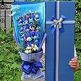 LoveTapestry Puntada Ramo de Peluche, Ramo de Rosas de Seda Artificial Flor Stich, Mini decoración de Boda de San Valentín 58x25x12cm Azul