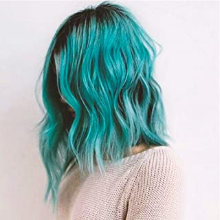 ENTRANCED STYLES Teal Wig for Women Synthetic Bob Curly Wigs with Side Part Ombre Blue Wig for Girls Heat Resistant Fiber