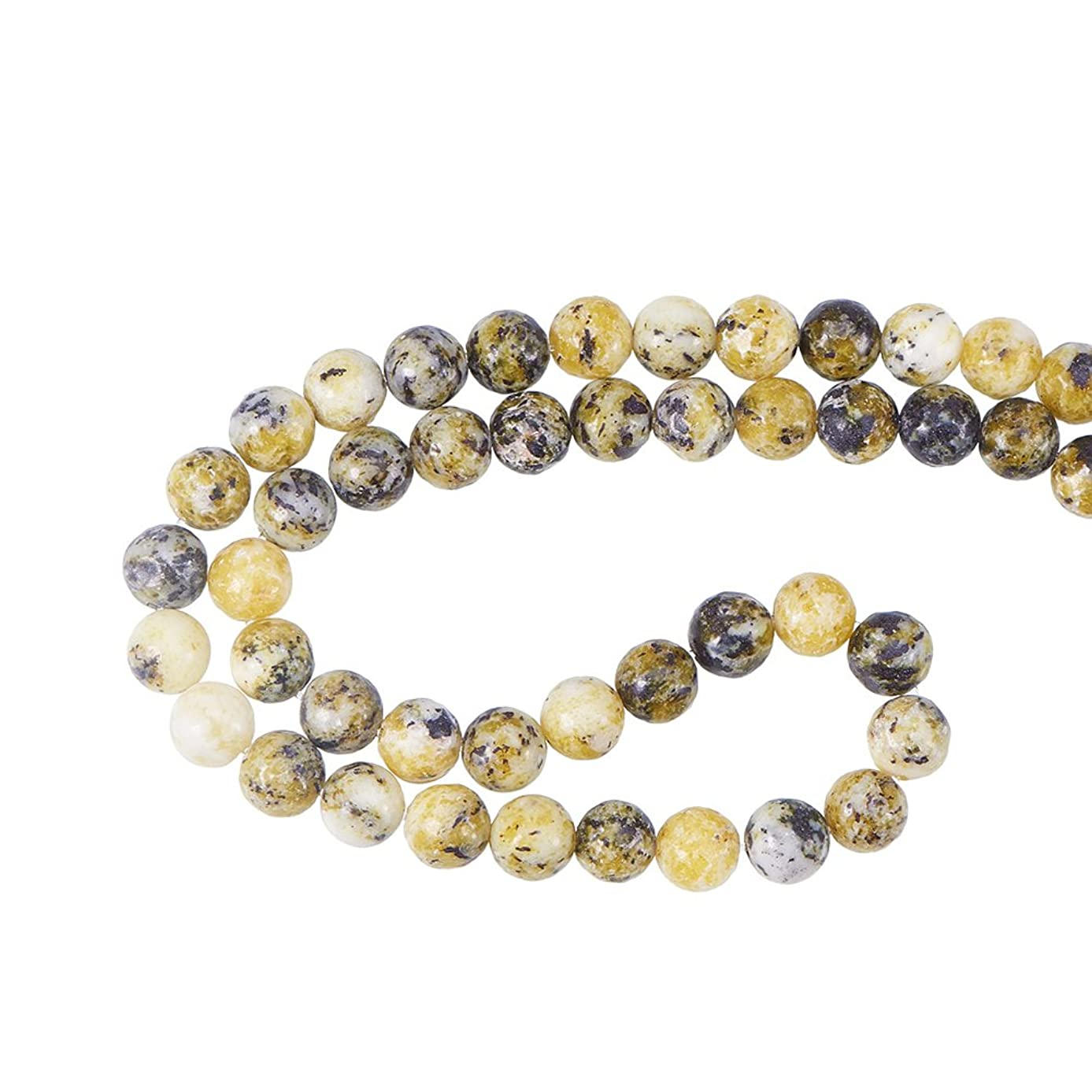 NBEADS 5 Strands Natural Yellow Turqouise Beads, 8mm Round Smooth Loose Beads for Jewelry Making, 47 PCS Per Strand