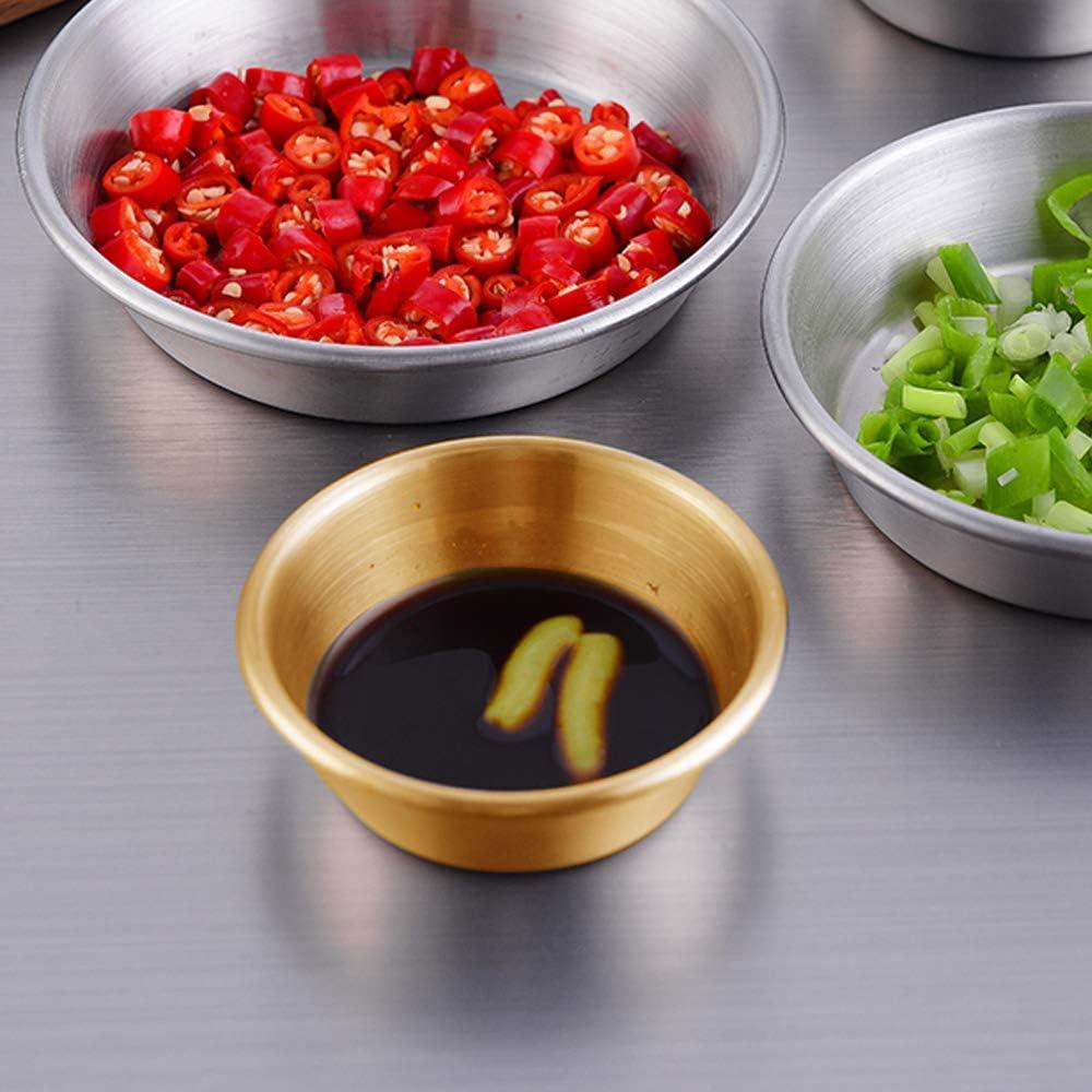 Premium Sushi Dipping Bowl Saucers Mini Appetizer Plates Metal Ramekins 6Pcs Gold 6Pcs 2.3OZ Stainless Steel Sauce Dish Individual Condiment Sauce Cups Seasoning Dishes