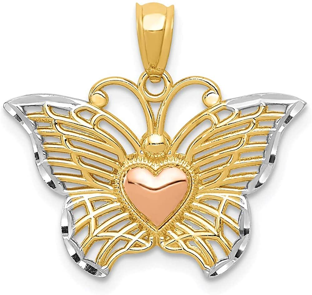 14k Yellow Gold Two Tone White Butterflyheart Pendant Charm Necklace Animal Insect Arachnid Butterfly Fine Jewelry For Women Gifts For Her