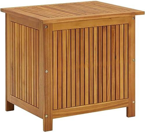 vidaXL Bois d'Acacia Solide Boîte de Rangement de Jardin Banc de Stockage Coffre de Rangement Outils de Jardinage Ext...