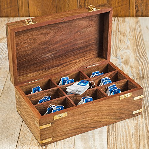 Rusticity Wood Tea Bag/Spice Storage Box with Lid and 9 pockets | Handmade | (10.2x6.2x4 in)