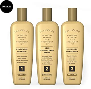Brazilian Keratin Hair Treatment Set by Calily Life, Professional Grade Blowout Kit Includes Clarifying Shampoo, 100% Formaldehyde Free Straightening Serum and Silk Finish Conditioner - 3 Step System