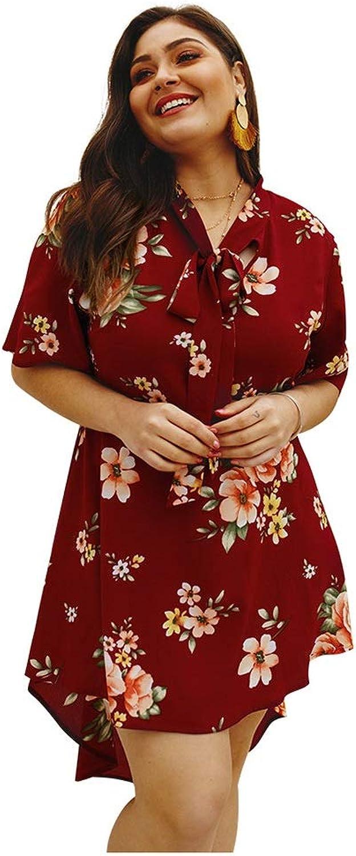 CARRY Dress, European and American Women's Comfortable Soft Skirt Large Size Dress Elegant Aline Skirt Print Dress (color   color3, Size   1xl)