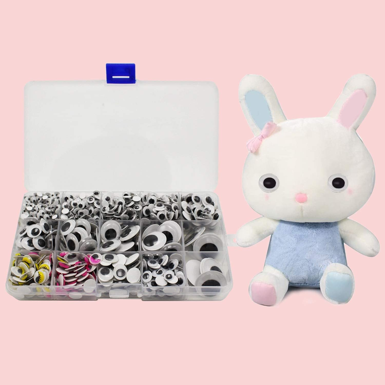DalaB 1 Box 1100pcs San Jose Mall Plastic Max 82% OFF Round Size Wiggle Variety Eyes Multi
