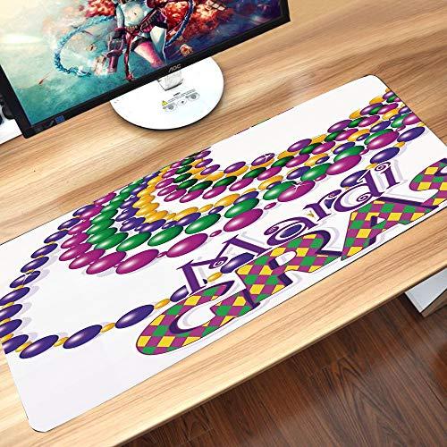 Alfombrilla goma antideslizante para ratón,Mardi Gras, collares de abalorios de colores con diseño de caligrafía de Mardi Gras, diseño decorati,Lavable, con diseños, para Gamers, PC y Portátil60x35 cm