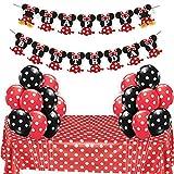 Minnie Mouse Themed Party Supplies Rojo y negro para niñas Feliz cumpleaños Banner Lunares Globos Mantel para fiesta de cumpleaños, Decoraciones para bebés