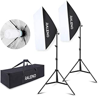 RALENO 800W Softbox Lighting Kit 2X20 X28 Professional Studio Photography Continuous Lighting Equipment with 2 x 85W E27 Socket 5500K Bulbs for Portraits and Product Shooting