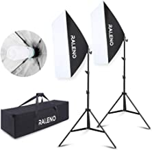 RALENO Softbox Photography Lighting Kit 2X20 X28 Reflectors 2 Bulbs 85W 5500K E27 Socket Bulb Professional Studio 800W Continuous Lighting System Photo Model Portraits Shooting Box