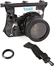Runshuangyu 20M Waterproof Underwater Camera Bag Cover with Shoulder Strap, for Canon Nikon DSLR Camera, Diving Housing Case Protective Pouch Dry Bag - (Black and Transparent)
