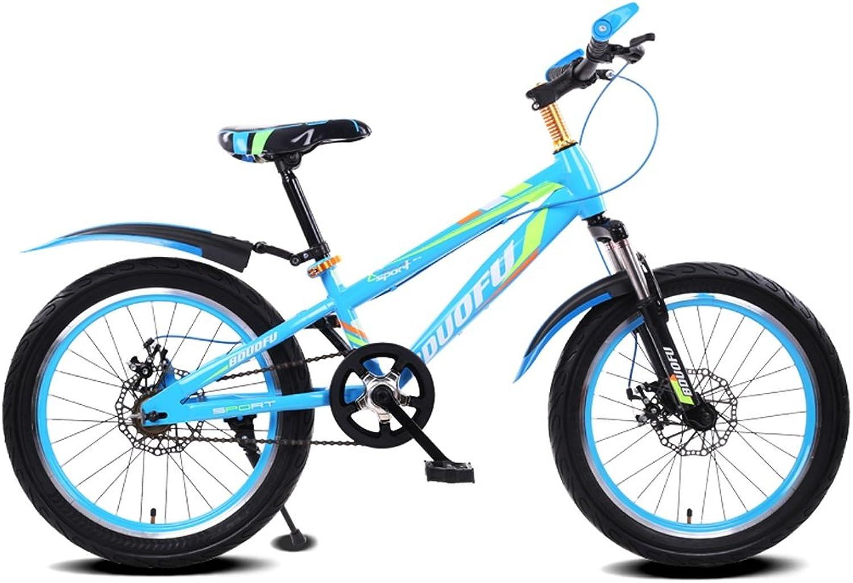 Fenfen Kinder Fahrrad 16 18 20 Zoll Mountain Bike 5-8 7-10 10-14 Jahre altes Kind Kinderwagen High-Carbon-Stahl Fahrrad, blau schwarz rot schwarz grün schwarz blau (Farbe   20 inch Blau)
