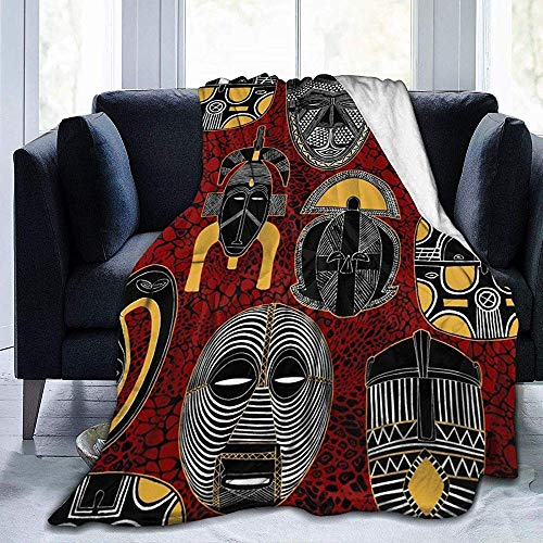 Searster$ Throw Blanket Tiki Bar Afrikanische Maske Native Illustration Fleecedecke Flanell Plüsch Decke Fuzzy Weiche Decke Mikrofaser Für Couch Schlafsofa, 102X127 cm