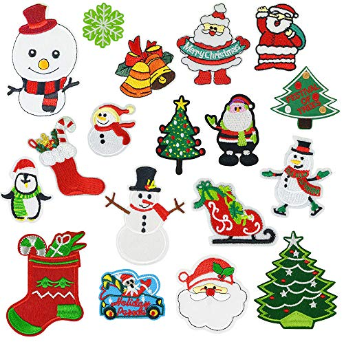 18 Pcs Christmas Style Embroidery Patches Heat Transfers Iron On Sew On Patch for Women Girls Kids DIY Clothes Jacket Jeans Caps Backpacks Vests Accessories Decorative Appliques