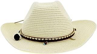 LiWen Zheng Elegant Women's Men's Summer Straw Hat Panama Sun Hat Leather Belt Tassel Decoration Beach Hat Gangster Hat
