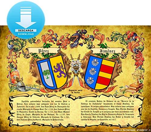 Heraldys.- Imagen pergamino Escudos de 2 Apellidos con orígenes. Este Producto es una Descarga de Imagen en jpg Que enviamos por Email en Unas Horas. Puede imprimirlo en DIN A-3.