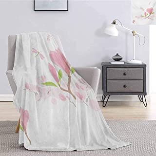 Luoiaax Dragonfly Fuzzy Blankets King Size Magnolia Branches and Leaves in Soft Tones Romance in Spring Concept Lightweight Life Comfort Blanket W57 x L74 Inch Pale Pink Lime Green