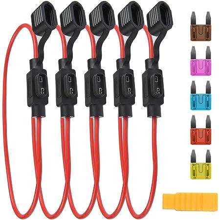 confezione da 10 KOLACEN Automotive Auto Inline Vite Tipo 5x20mm AGC portafusibili 16 Awg Wire