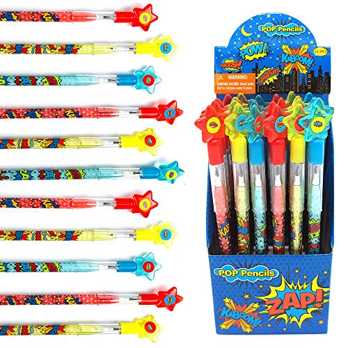 Tiny Mills 24 Pcs Superhero Text Multi Point Stackable Push Pencil Assortment with Eraser for Superhero Birthday Party Favor Prize Carnival Goodie Bag Stuffers Classroom Rewards Pinata Fillers