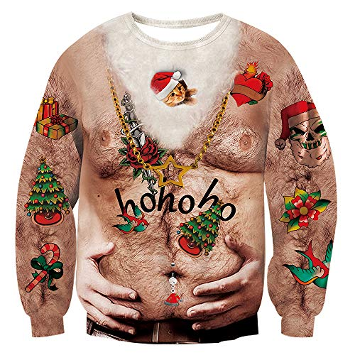 TUONROAD Cheesy Christmas Jumpers Hairy Chest with Red Green Holiday Decorations Gifts Candies Hands Hold Tummy Ugly Xmas Sweater Loose Fit Novelty Xmas Long Sleeve Crew Neck Frisky Pullover T-Shirt