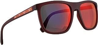 Emporio Armani EA4124 Sunglasses Matte Opal Red w/Dark Grey Mirror Blue Red Lens 57mm 57246P EA 4124