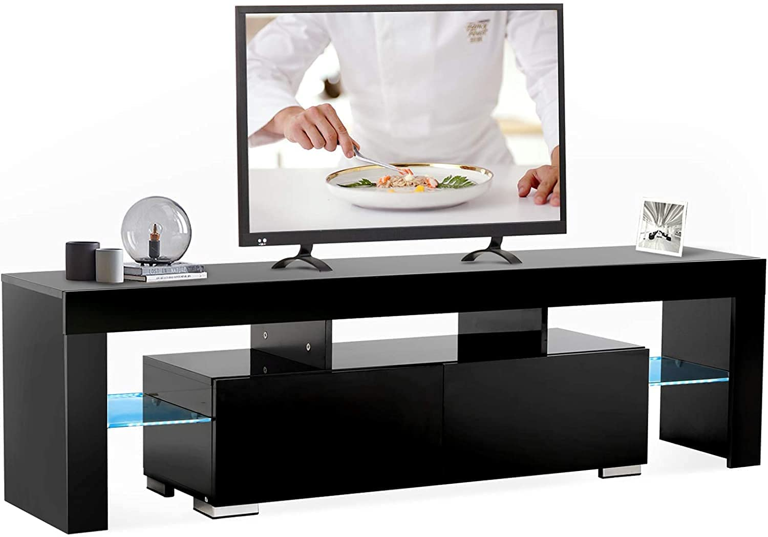 Mecor Black LED Modern Design Recommendation wi Colors Stand TV NEW before selling ☆ 12
