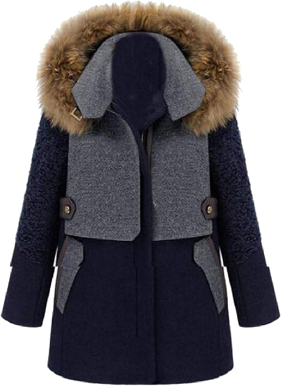 Winme Women Midi Thick WoolBlend Oversize Trench Coat Jacket