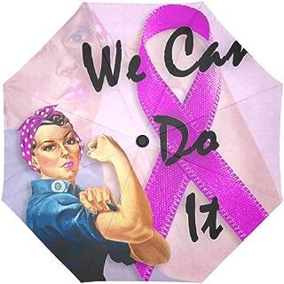 Pink Ribbon Breast Cancer Awareness Windproof Rainproof Automatic Open and Close Foldable Umbrella,Travel Compact Unbreakable Rain and Sun Umbrella