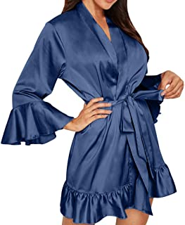 Women Pajama Set Robe, Ladies Solid Long Sleeve Lingerie Nightwear Underwear Nightrobe with Belt