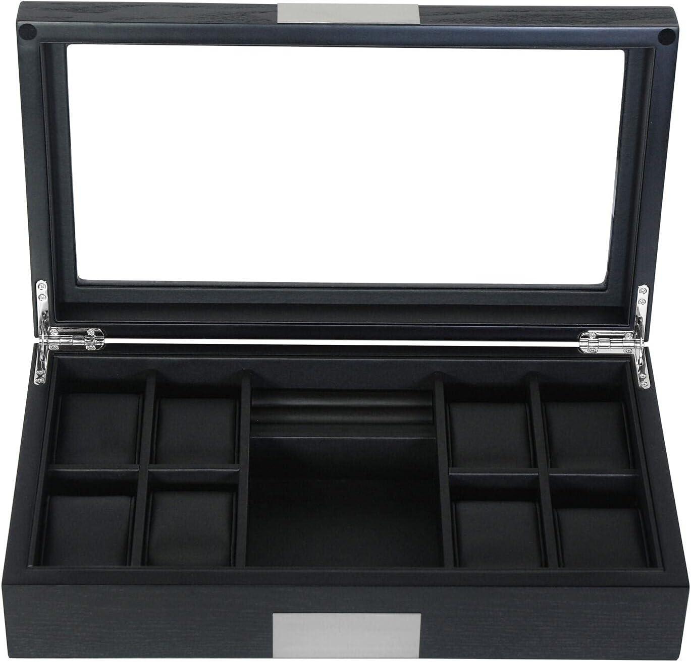 8 Outstanding Ebony Black Wood Watch Box Display Cash special price Jewel Case Storage Cufflink