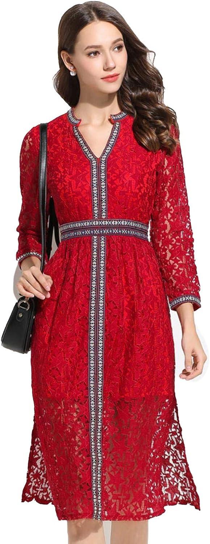 GlzoKR Women VNeck Lace Fashion National Style Embroidery High Waist Dress