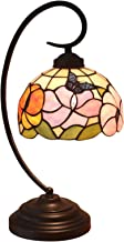 Tiffany Style Butterfly Sunflower Table Lamp,8-Inches Wide Handmade Stained Glass Shade,Iron Alloy Base,Push Button Switch...