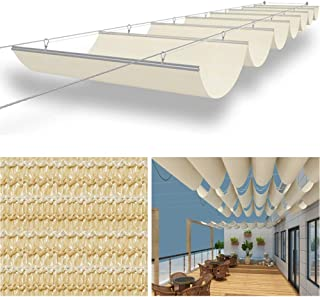 LSXIAO Telescopic Shade Sail Wave Canopy Balcony Blinds Steel Slide Stainless Steel Pulley Polyethylene Fabric Terrace Pat...