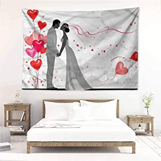Sunnyhome Living Room Tapestry,Wedding Heart Shaped Balloons Bride,Stylish Minimalist Fresh Style,W63x47L