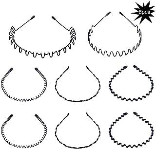 8 pezzi Cerchio Cerchietti e fasce per capelli per uomo e donna a onde, cinturino in metallo per capelli ondulati unisex (...