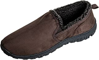 MIXIN Men's Moccasins Slippers Comfy Warm Soft Fuzzy Lining Hard Rubber Sole Slip-on Memory Foam Casual House Indoor Outdoor Driving Shoes