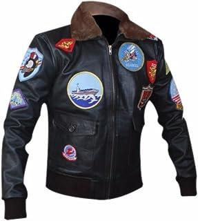 Détails sur Homme Tom Cruise Top Gun Noir Moto Veste Cuir Without Fourrue Pull
