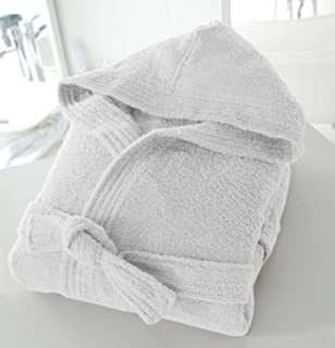 Casabella Uni Sex 100% Cotton 500 Gsm Terry Towelling Hooded Bath Robe Dressing Gown_White_Large/X-Large