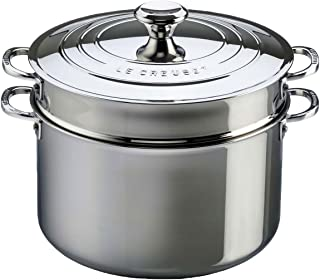 Le Creuset Tri-Ply Stainless Steel Stockpot with Lid and Deep Colander Insert, 9-Quart