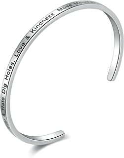 Candyfancy Inspirational Messaged Stainless Steel Cuff Bangle Bracelet Women Girls Men